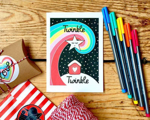 Irish-made eco Christmas cards set of 6 - Twinkle Twinkle and Snow Bear - jiminy eco-toys