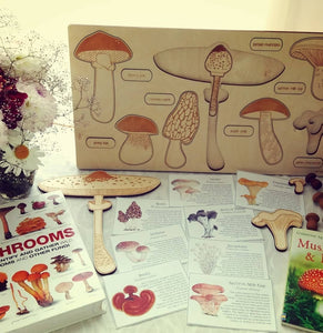 Mushrooms 2-layer learn-about-nature wooden puzzle - jiminy eco-toys