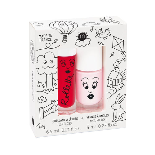Nailmatic Lip and Nail gift set - Cottage (Cherry gloss and Bella polish) - jiminy eco-toys