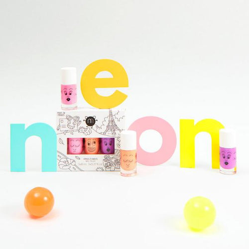 Nailmatic Wash-Off 3-Polish Gift Set - Paris (pearly neon lilac / pink / coral) - jiminy eco-toys