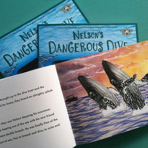 Nelson's Dangerous Dive: A true story about ghost fishing nets (paperback book by Ellie Jackson) - jiminy eco-toys