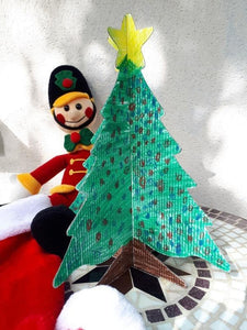 Recycled 3-D colour-in Christmas trees - large and desktop sizes - made in Ireland - jiminy eco-toys