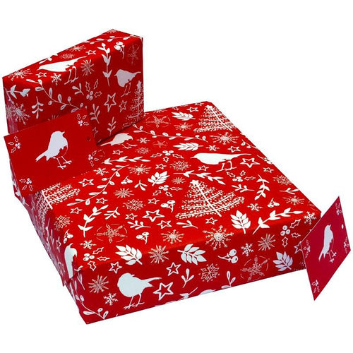 Recycled and recyclable Christmas wrapping sets - 5 sheets, 5 matching tags - jiminy eco-toys