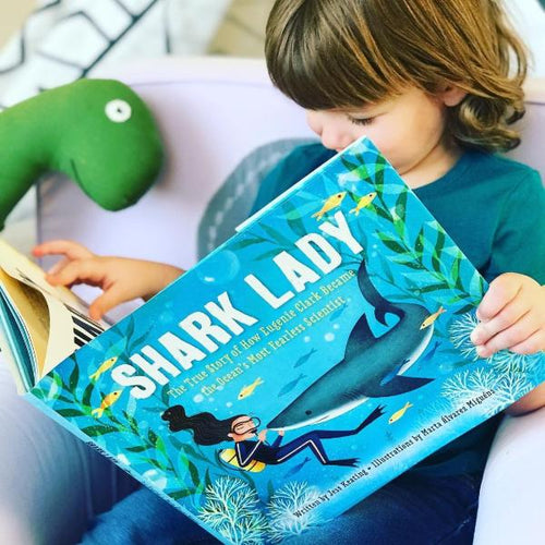 Shark Lady: The True Story of How Eugenie Clark Became the Ocean's Most Fearless Scientist (hardback book by Jess Keating) MADE FAR AWAY WON'T REORDER - jiminy eco-toys