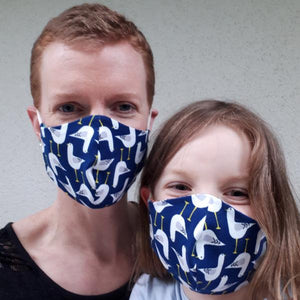 Soft organic cotton facemasks in 4 sizes: kids, teens, women, and men - jiminy eco-toys