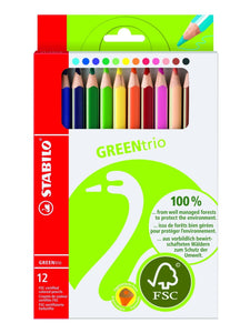 Stabilo GREENtrio - easy-hold chunky triangular colouring pencils - jiminy eco-toys