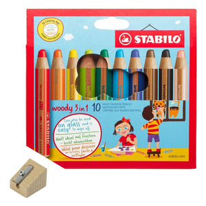 STABILO Woody solid-paint pencils - 3-in-1: pencil, crayon, paint stick - jiminy eco-toys