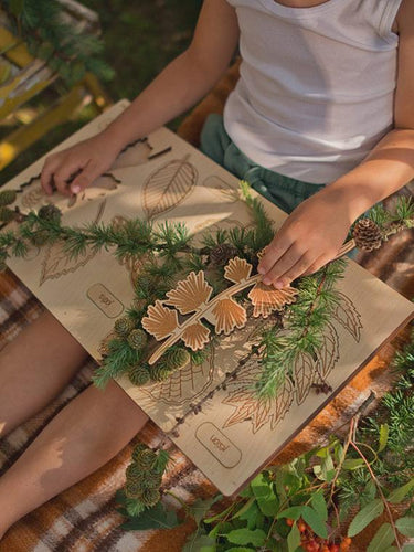 What falls from trees 2-layer wooden puzzle - jiminy eco-toys