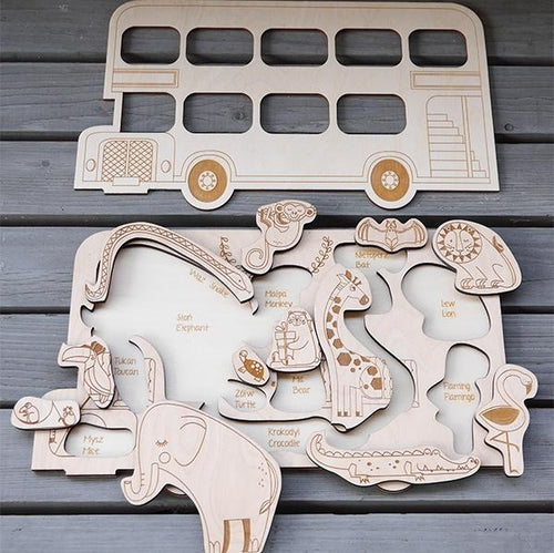 Zoo-on-a-Bus wooden puzzle - FOR DELIVERY MID-NOVEMBER - jiminy eco-toys
