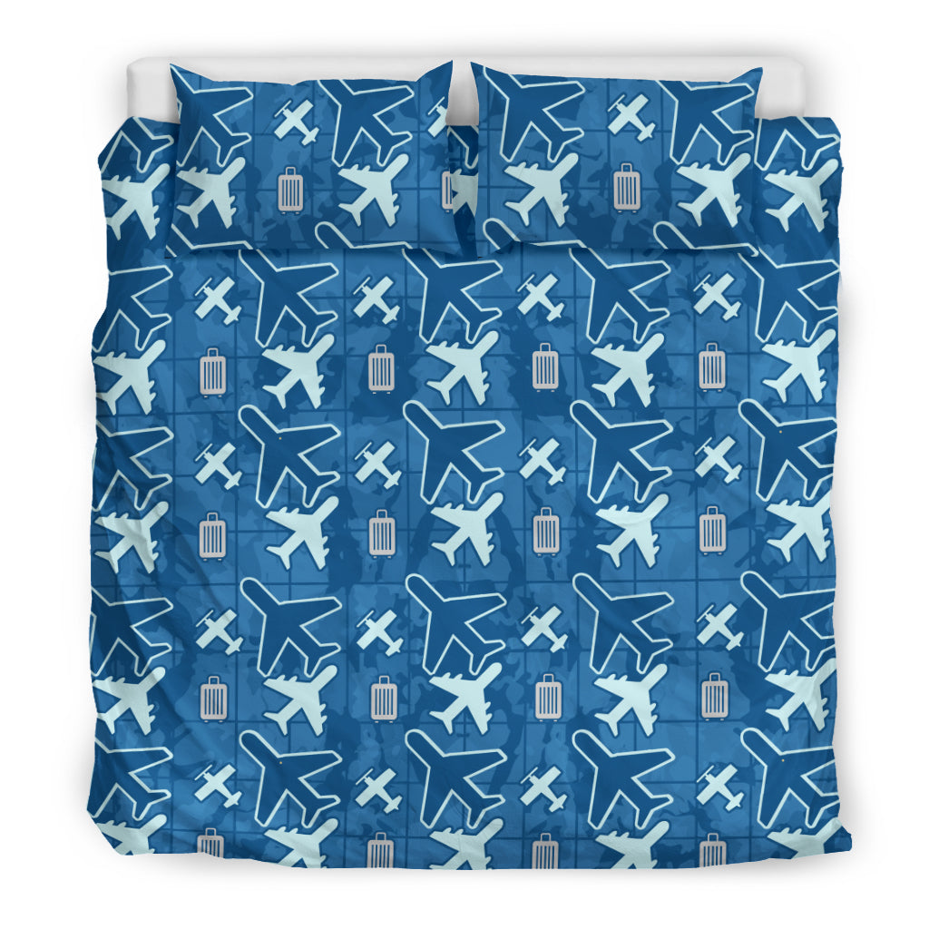 Silverdrome Blue Flying Icons Luxury Bedding Sets