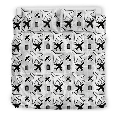 White Flying Icons Luxury Bedding Sets
