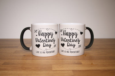 Happy Valentine's Day Mug Set with Black Hearts