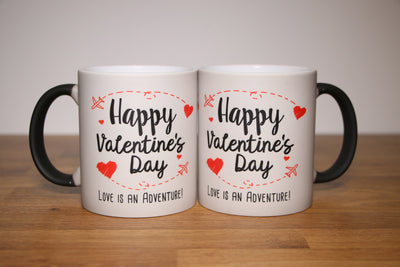 Happy Valentine's Day Mug Set with Red Hearts