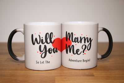 Will You Marry Me Colour Changing Mug with Red Hearts