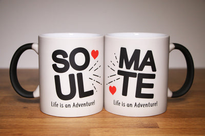 Soul Mate Mugs with Red Hearts - Valentine's Day Gift