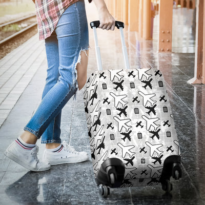White Flying Icons Luggage Cover