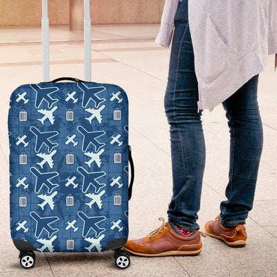 Blue Flying Icons Luggage Cover