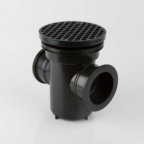 Underground 110mm Bottle Gully Back Inlet Roddable Round Grid 90 Degree Outlet