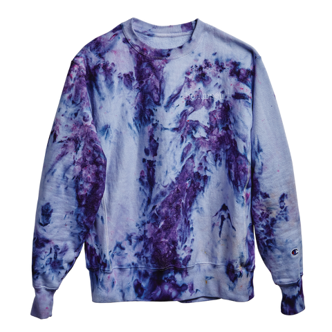 The Ice-Dye Sweatshirt in a Color We Call Blueberry Smoothie
