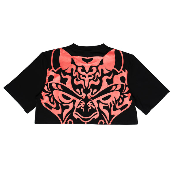 Tiger Eyes Krop Tee - black/red