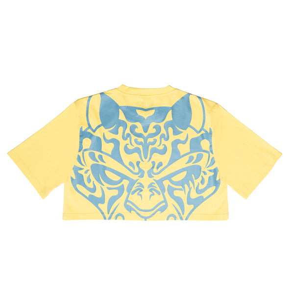 Tiger Eyes Krop Tee  - yellow/blue