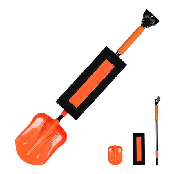 ORIENTOOLS Extendable Waterproof Snow Brush and Ice Scraper with Soft Grip, Heavy Duty Snow Removal Tool with an Extra Shovel Head, an Ideal Accessory for Car, Truck, Vehicle, etc.