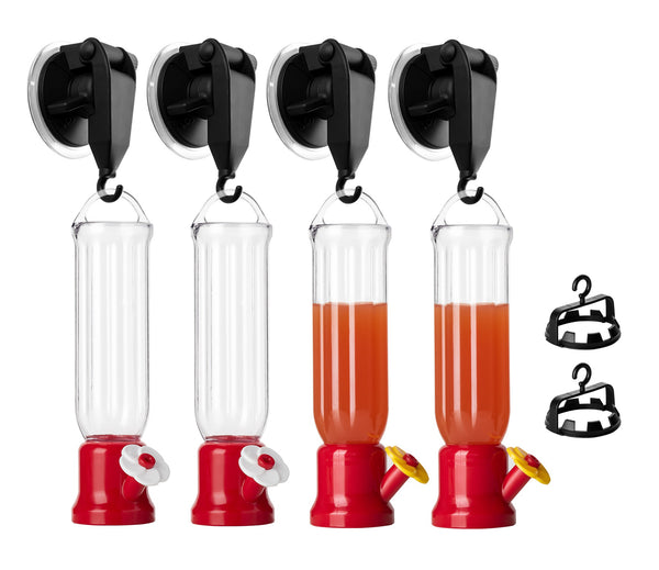Hummingbird Feeder with Window Mount Suction Cup, 4-Pack