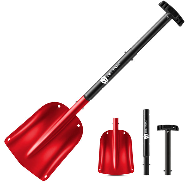 "ORIENTOOLS Snow Shovel with 3 Piece Collapsible Design, Aluminum Lightweight Sport Utility Shovel, 26''-32'' Portable and Adjustable Snow Shovel for Car, Camping, Garden (9"" Blade, Red)"