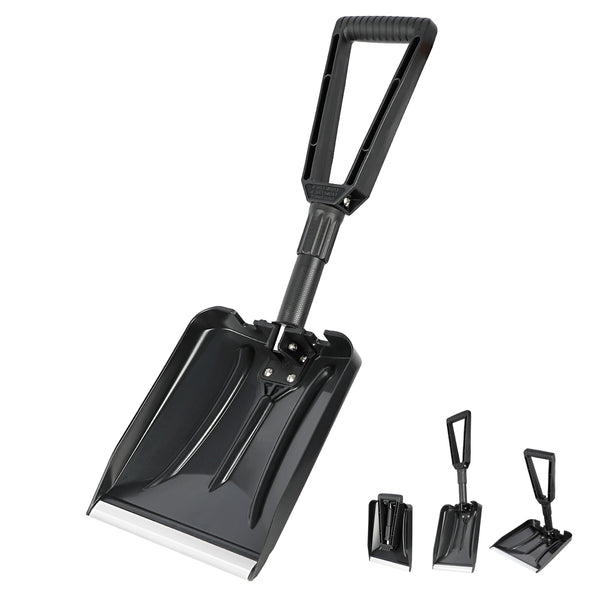 "ORIENTOOLS Folding Snow Shovel with D-Grip Handle and Durable Aluminum Edge Blade, Emergency Snow Shovel for Car, Truck, Recreational Vehicle, etc.(Black, Blade 9"")"