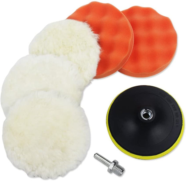 7pcs 6 Inches Polishing Pad Kit, Sponge and Wool Polishing Pad Set with M14 Drill Adapter