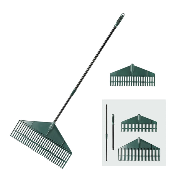 ORIENTOOLS Garden Leaf Rake with 2 Plastic Head (30T&26T)
