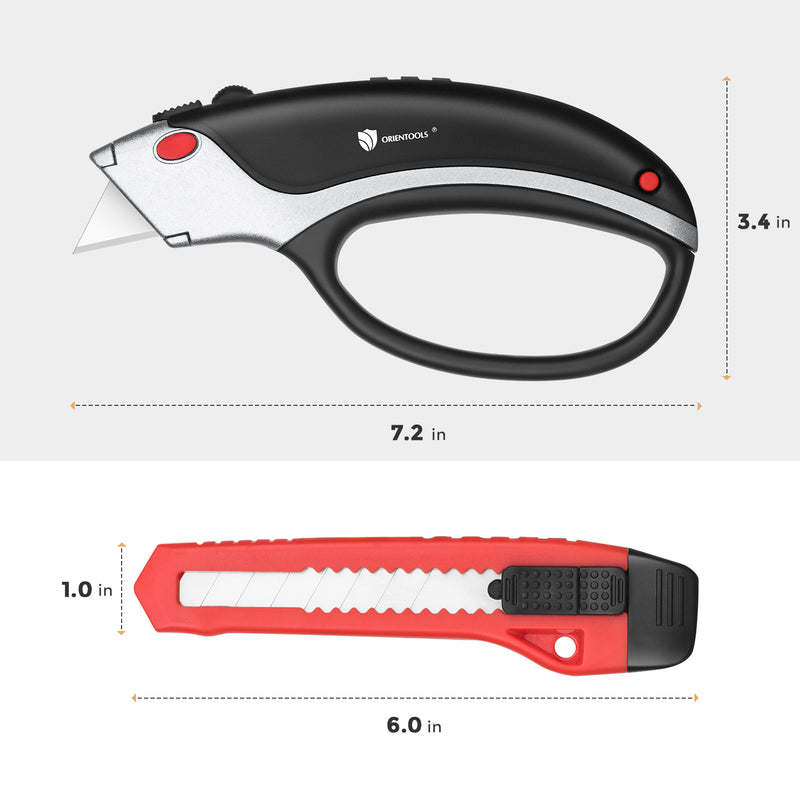 Utility Knife + Box Cutter 2-Pack Set