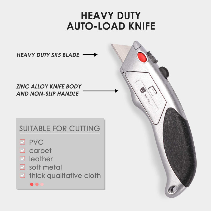 Auto-Load Heavy Duty Utility Knife (18 Blades,3 Pack)