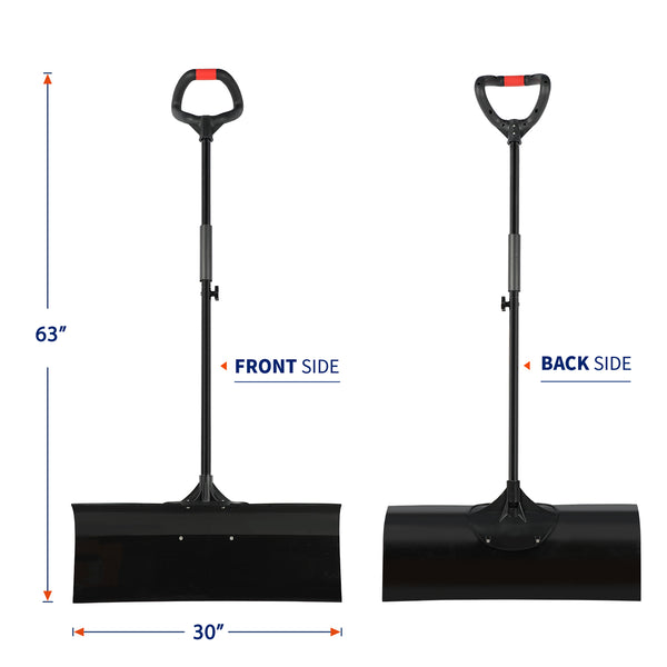 "ORIENTOOLS Heavy Duty Snow Shovel with Ergonomic Handle Grip and Strong Anti-Impact Blade, Super Easy Installation Snow Pusher, Perfect for Shoveling or Pushing Snow (30"" Blade)."