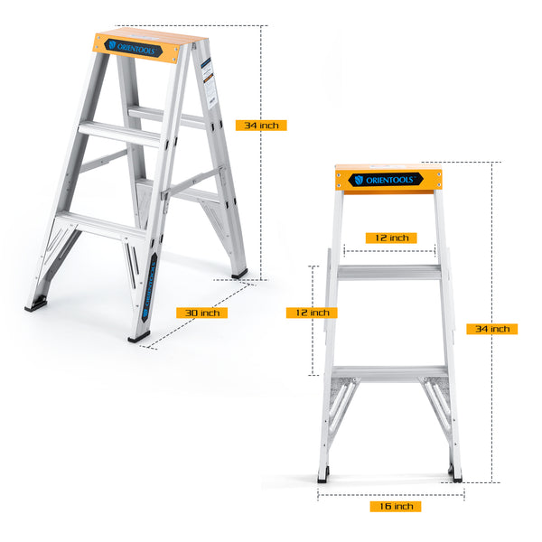 Aluminum Step Ladder 3 Feet, Twin Front Ladder with 300 lb Duty Rating
