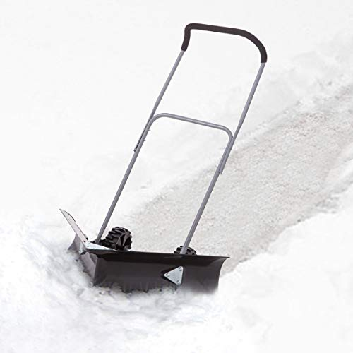 "Dual Angle Rolling Snow Pusher with 6"" Wheels"