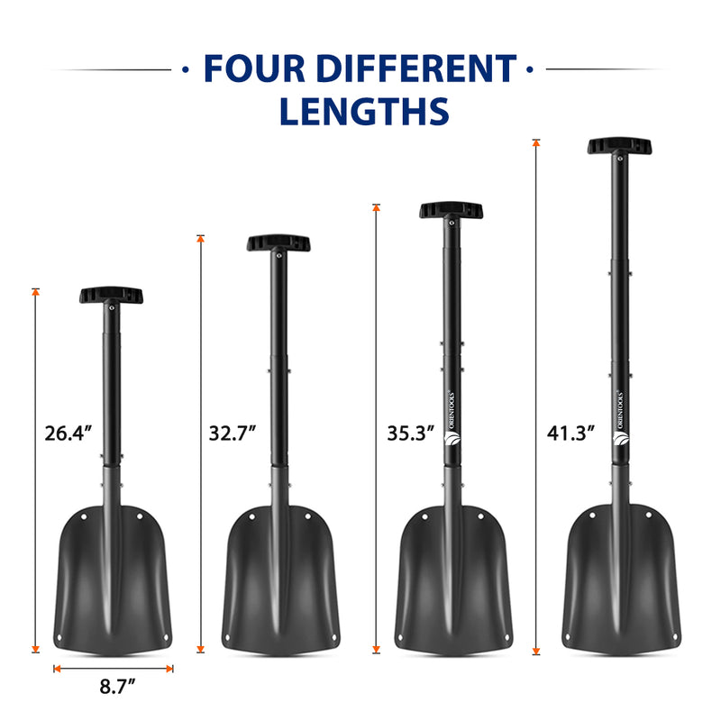 "ORIENTOOLS Snow Shovel with 4 Piece Collapsible Design, Aluminum Lightweight Sport Utility Shovel, 26""-41"" Portable and Adjustable Snow Shovel for Car, Camping, Garden (9"" Blade, Black)"