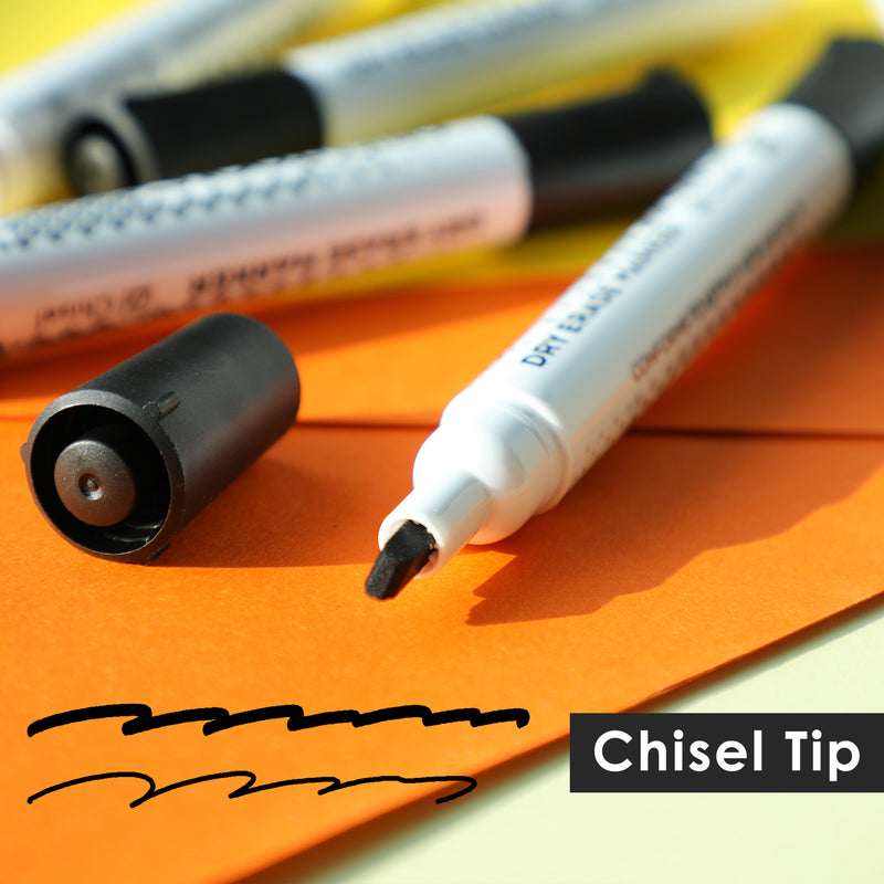 Dry Erase Markers, Black Color with Low-Odor Ink