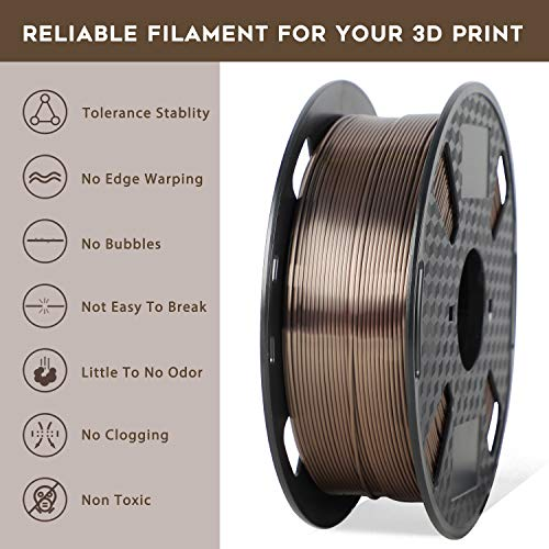 ORIENTOOLS PLA Silk 3D Printer Filament 1.75mm, Dimensional Accuracy +/- 0.05 mm, 1kg Spool (2.2lbs), Purple, Fit Most FDM Printer
