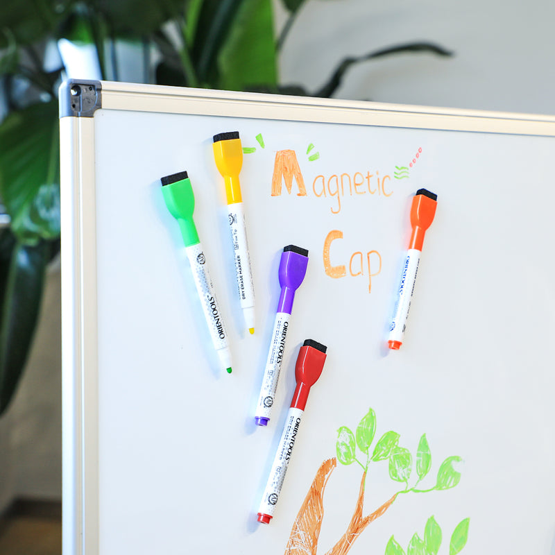Magnetic Dry Erase Markers with Fine Tip, 24 Pcs 12 Assorted Colors with Low-Odor Ink