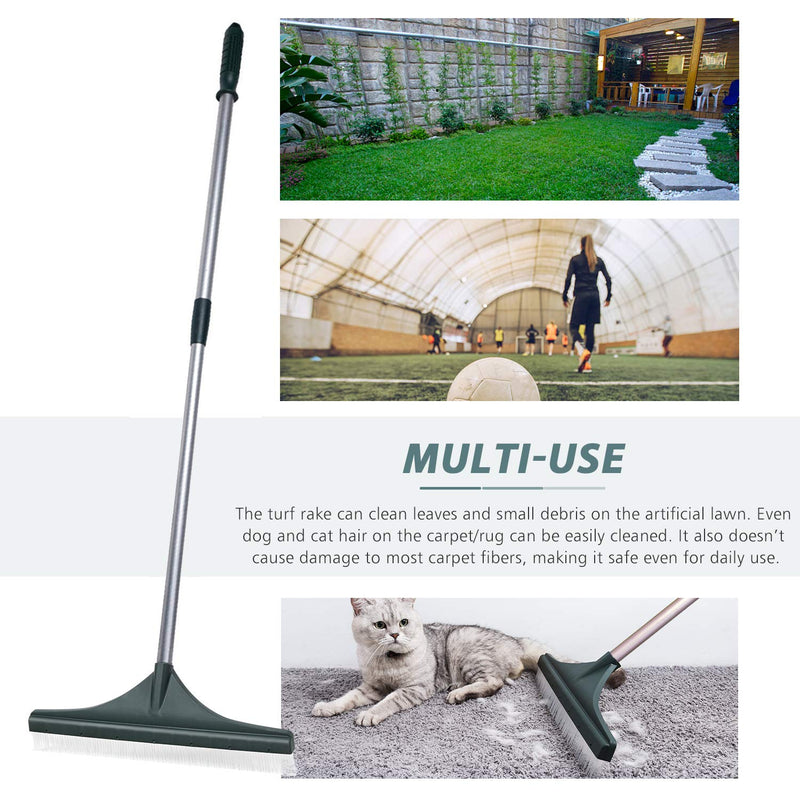 Turf Rake, Plastic Head with PA Brush, 32 to 52 inches