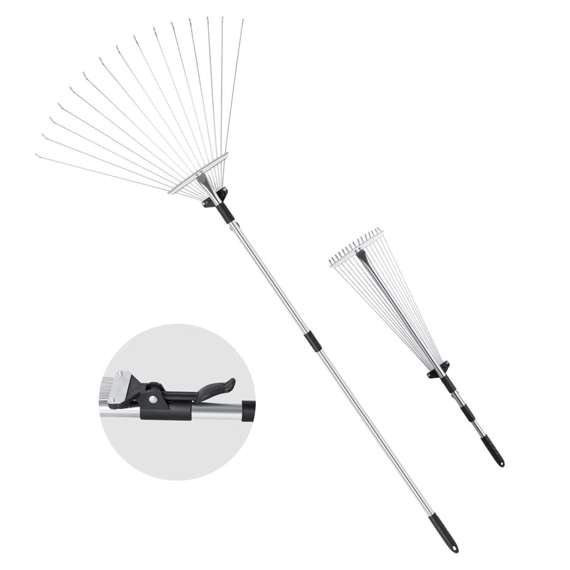 "ORIENTOOLS Steel Leaf Rake, Telescopic Leaves Rake with Adjustable 8""- 23"" Folding Head and Comfortable Grip Handle (15 Tines,32 to 63 inches)"