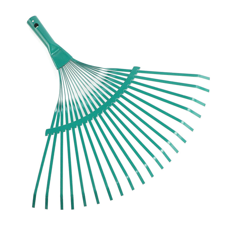 "ORIENTOOLS Steel Leaf Rake, Garden Replacement Rake Head, 18.5"" Professional Gardening Tools (Green, 20 Tines)"