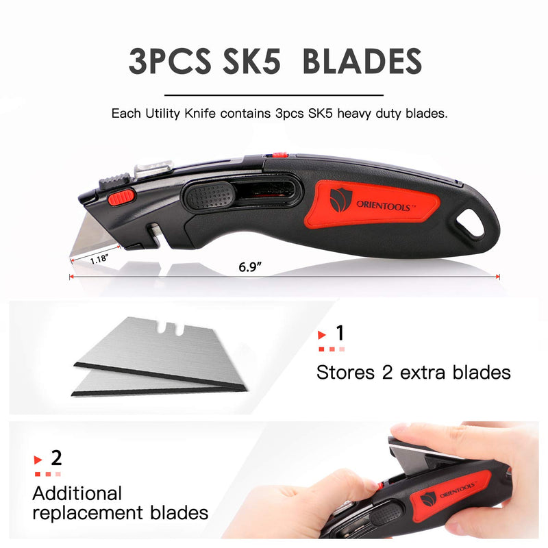 Auto Retractable Heavy Duty Utility Knife (9 Blades, 3 Pack)