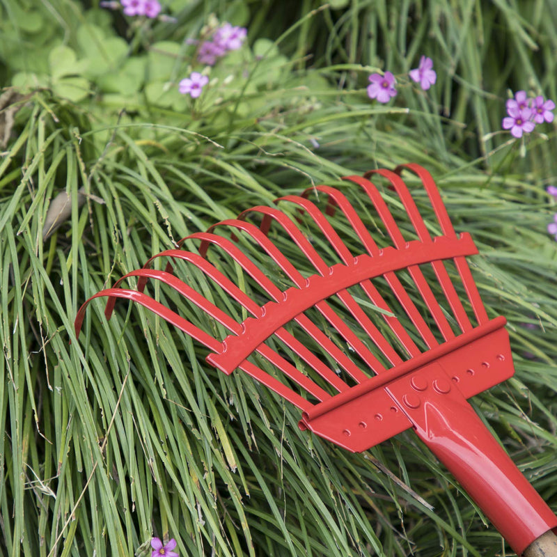 "ORIENTOOLS Steel Leaf Rake, Garden Shrub Rake Head Only (Red, 11 Tines, 8.66"")"