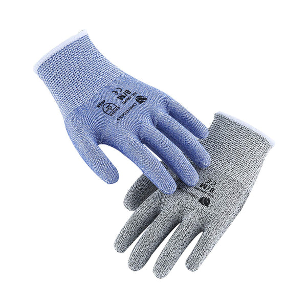 2 Pack of Cut Resistant Gloves with Level 5 Protection (Blue&Grey M/L/XL)