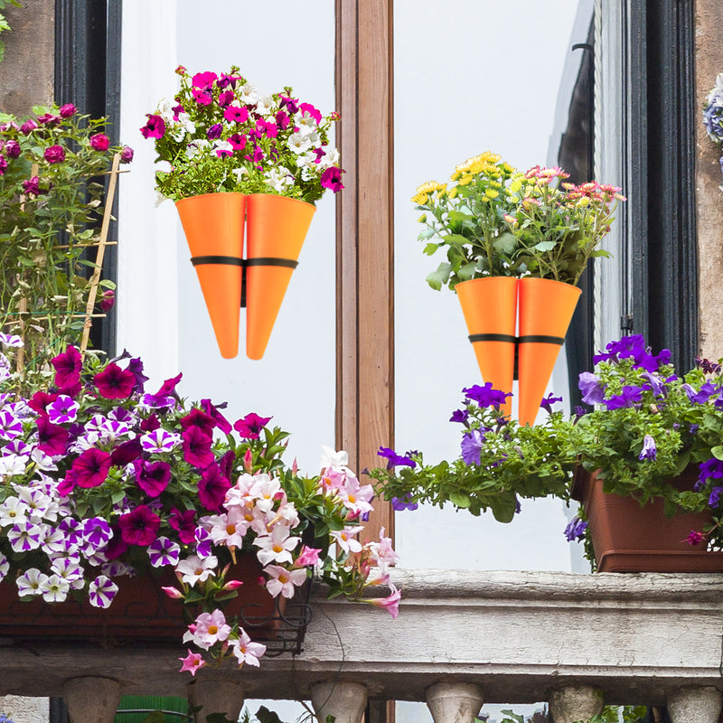 Hanging Planter Basket with Window Mount Suction Cup Accessory, Flower Plant Pots for Indoors & Outdoors (Set 2, Orange)