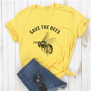 Save The Bees t Shirt vegan T-Shirt Women Save The Earth Environmental Bee Kind Graphic Tees Women Vegan Tshirt S-XXXL
