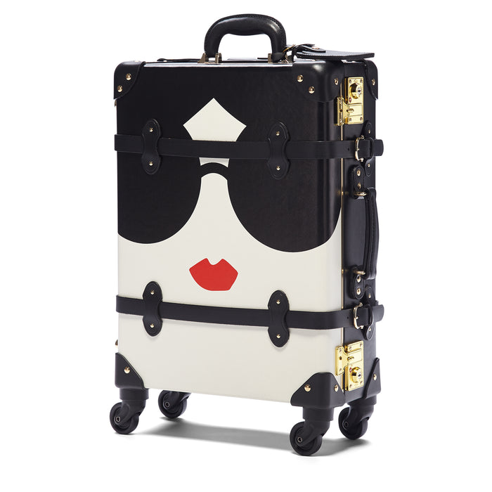 The alice + olivia X SteamLine in Black - Vintage-Style Cabin Luggage - Exterior Front