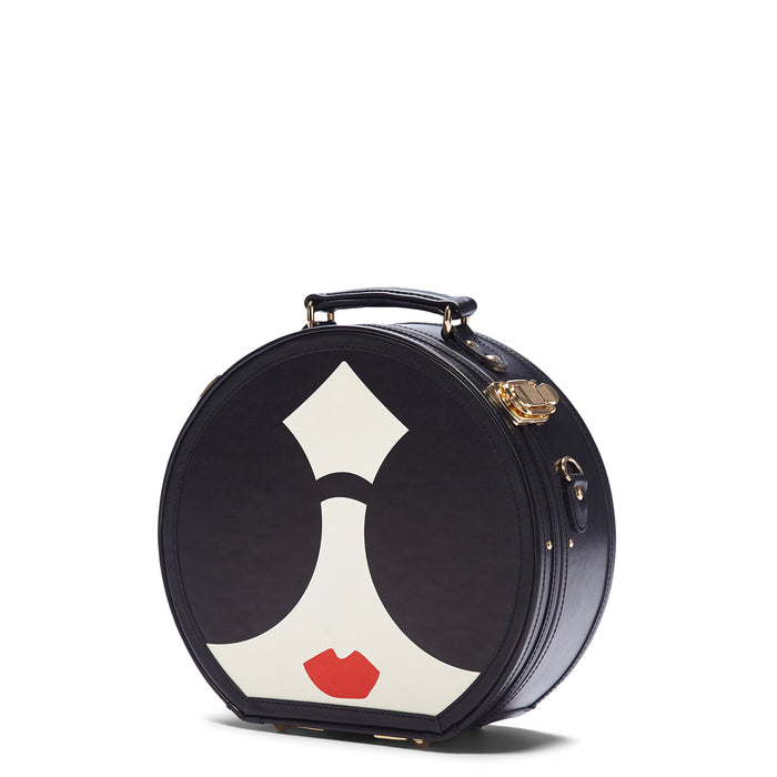 The alice + olivia X SteamLine in Black - Hat Box Luggage - Exterior Front with Model